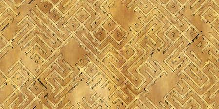 Modèle sans couture d'un schéma de labyrinthe antique monochrome, peint sur du vieux papier ou du parchemin. Carte de donjon ou de labyrinthe vintage comme fond d'écran ou arrière-plan répétitif