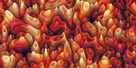 Abstract seamless texture of smooth waxy spikes like melted wax or coral or organic surface like skin or pores. Silicone hills with caves and craters. Horizontal pattern as hero-header or background