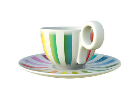 Empty porcelain white tea or coffee cup on saucer with colorful stripes isolated on white background. Modern crockery. 3D Illustration. Standard-Bild - 127840027