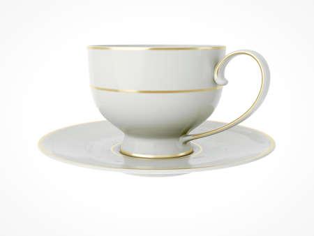 Isolated elegant antique porcelain white tea cup on saucer with gold edging on white background. Vintage crockery. 3D Illustration Standard-Bild - 127840609