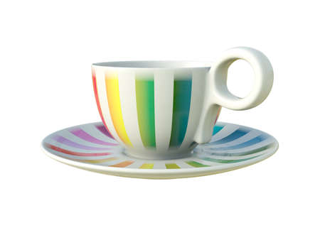 Empty porcelain white tea or coffee cup on saucer with colorful stripes isolated on white background. Modern crockery. 3D Illustration. Stock Photo