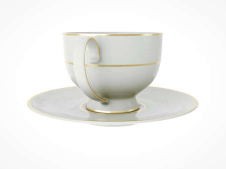 Isolated elegant antique porcelain white tea cup on saucer with gold edging on white background. Vintage crockery. 3D Illustration Standard-Bild - 127931494