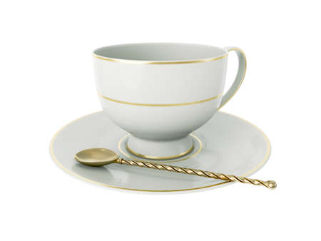 Isolated empty elegant antique porcelain white tea cup on saucer with gold edging and gold vintage tea spoon with twisted handle on white background. Vintage crockery. 3D Illustration Standard-Bild - 127931497