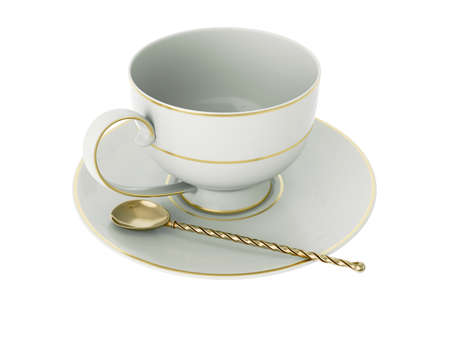 Isolated empty elegant antique porcelain white tea cup on saucer with gold edging and gold vintage tea spoon with twisted handle on white background. Vintage crockery. 3D Illustration Standard-Bild - 127931500