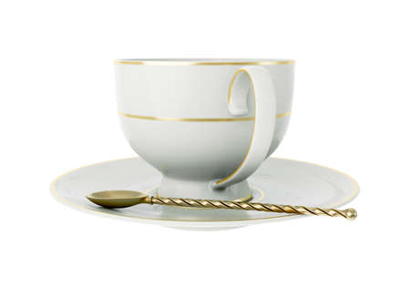 Isolated empty elegant antique porcelain white tea cup on saucer with gold edging and gold vintage tea spoon with twisted handle on white background. Vintage crockery. 3D Illustration Standard-Bild - 127931501