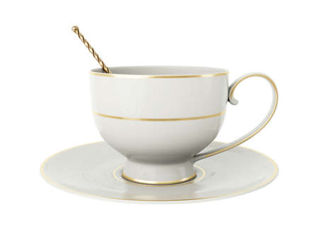 Isolated empty elegant antique porcelain white tea cup on saucer with gold edging and gold vintage tea spoon with twisted handle on white background. Vintage crockery. 3D Illustration Standard-Bild - 127931502