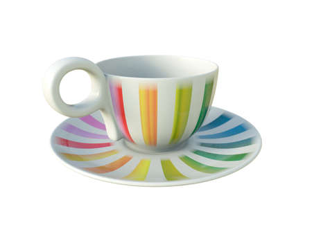 Empty porcelain white tea or coffee cup on saucer with colorful stripes isolated on white background. Modern crockery. 3D Illustration. Stok Fotoğraf