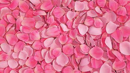 Background texture of beautiful delicate vibrant pink rose petals in random pile. Fresh rose petals 스톡 콘텐츠