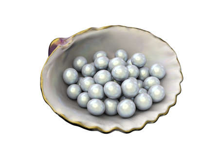 Open shell with white pearls isolated on white background. Beautiful half of clam shell and pearls. Shiny white pearls in mother of peral. 3D Illustration 스톡 콘텐츠