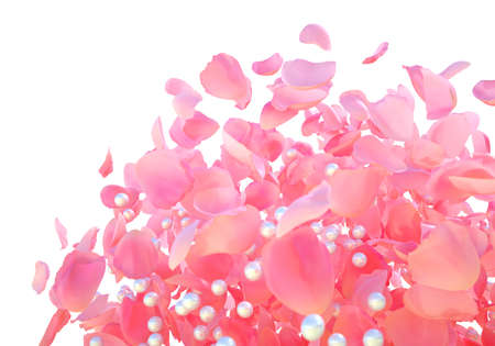 Background texture of beautiful delicate vibrant pink rose petals and white shiny pearls in random pile. Explosion of fresh rose petals and pearls