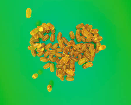 Fish Oil Capsules for health. Omega-3 and vitamin capsules isolated on green background. Healthy lifestyle concept. 3D Illustration