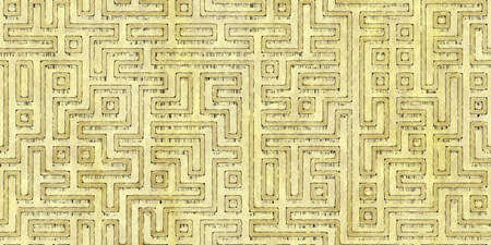 Seamless pattern of a monochrome antique maze scheme, painted on old paper or parchment. Vintage dungeon or labyrinth map as wallpaper or repeating background Reklamní fotografie