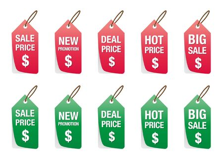 set of price tag isolated on white, labels for discount Vector