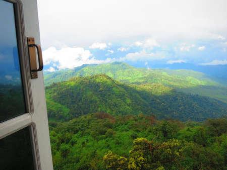 open window: Mountain view on open window, mountain top view, beautiful mountain view, Myanmar