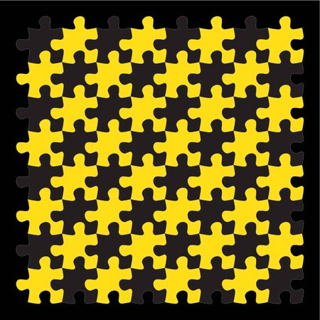 jigsaw puzzle pieces: yellow jigsaw puzzle pieces on black background Illustration