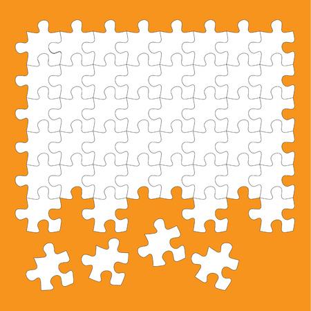 pieces: jigsaw puzzle pieces white on orange background
