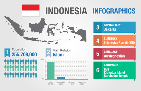 인도네시아 infographics, 통계 자료, 인도네시아 정보, 벡터 일러스트 레이션