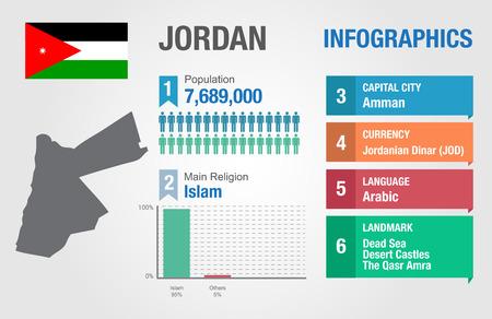 statistical: Jordan infographics, statistical data, Jordan information, vector illustration
