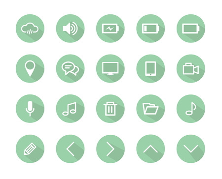 Set of flat design icons with long shadow, icons set, green color Vector