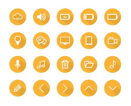 Set of flat technology design icons with long shadow, icons set, orange color Vector