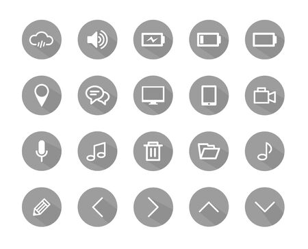 Set of flat design icons with long shadow Vector