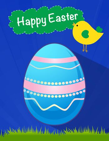 happy Easter blue egg Vector