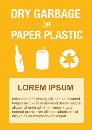 plastic: garbage sticker: plastic flessen, plastic zak Stock Illustratie
