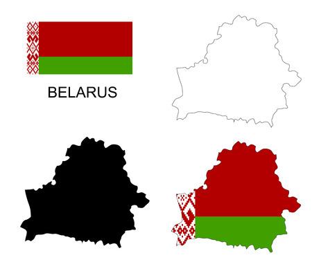 belarus: Belarus map and flag Illustration