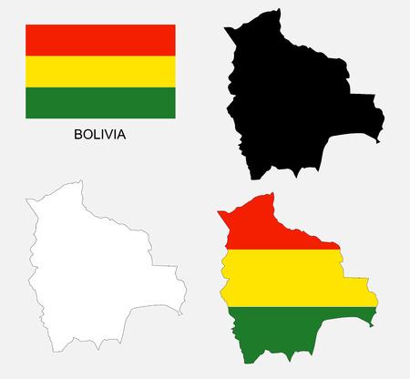 mapa de bolivia: Bolivia mapa y la bandera de vectores, Bolivia mapa, bandera de Bolivia