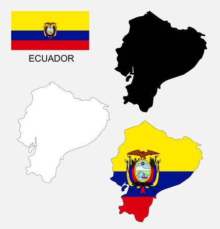 republic of ecuador: Ecuador map and flag
