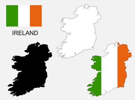 bandera irlanda: Mapa y la bandera de Irlanda Vectores