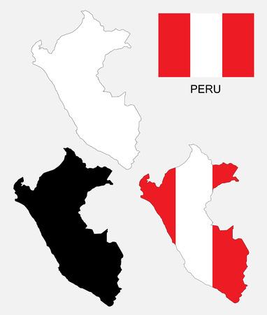 mapa del peru: Per� mapa y la bandera de vectores, Per� mapa, bandera de Per� Vectores