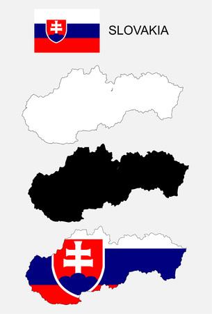 Slovakia map and flag vector, Slovakia map, Slovakia flag Ilustração