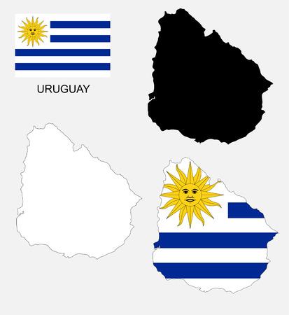 bandera uruguay: Uruguay mapa y la bandera de vectores, Uruguay mapa, bandera Uruguay