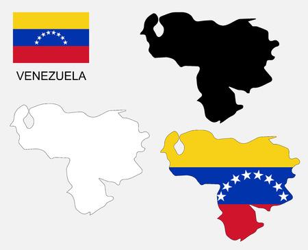 mapa de venezuela: Mapa y la bandera de Venezuela