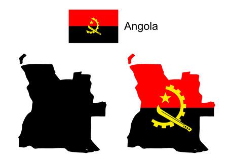 map of angola: Angola map and flag