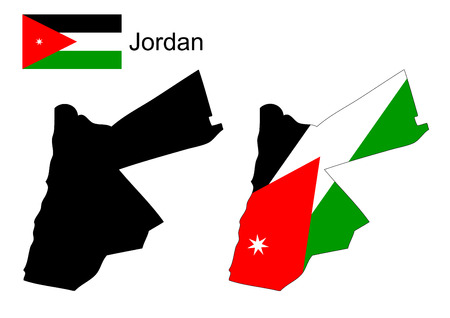 jordanian: Jordan map and flag vector, Jordan map, Jordan flag Stock Illustratie
