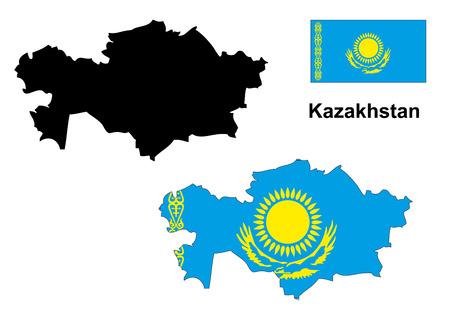 kazakhstan: Kazakhstan map and flag