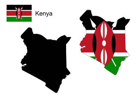 kenya: Kenya map and flag Illustration