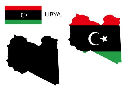 lybia: Libya map and flag vector, Libya map, Libya flag