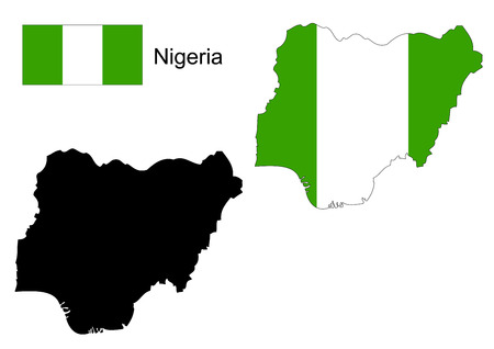 flag icon: Nigeria map and flag Illustration