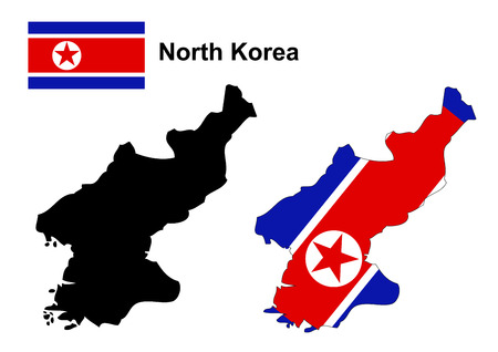 north korea: North Korea map and flag