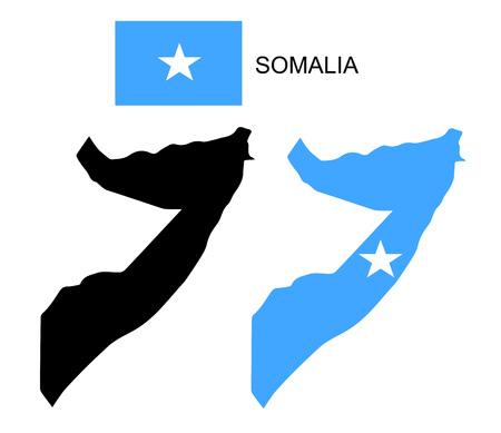 Somalia map and flag