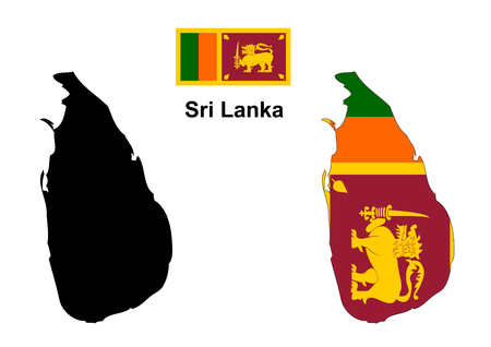 Sri Lanka map and flag Illustration