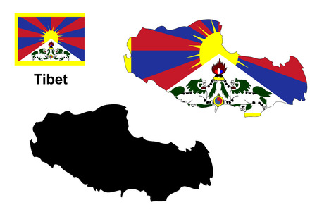 tibet: Tibet map and flag Illustration