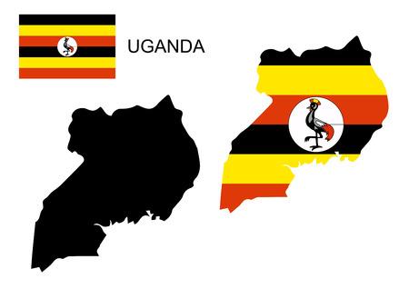uganda: Uganda map and flag