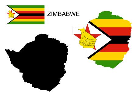 zimbabue: Mapa y la bandera de Zimbabwe vector, mapa Zimbabwe, bandera de Zimbabwe Vectores