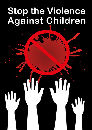 ni�os con pancarta: detener la violencia contra los ni�os de la bandera