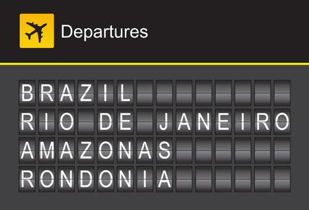 departures: Brazil flip alphabet airport departures, Brazil, Rio De Janeiro, Amazon, Rondonia