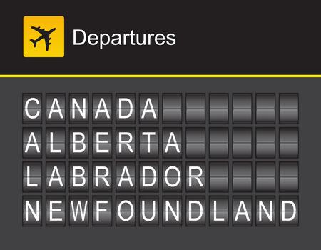 flight board: Canada flip alphabet airport departures: Canada, Alberta, Labrador, Newfoundland Illustration